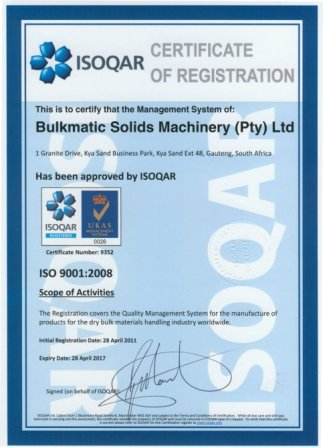 Bulkmatic ISO 9001 Certificate